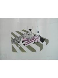 Sitting Figures on Stripes III by Lynn Chadwick