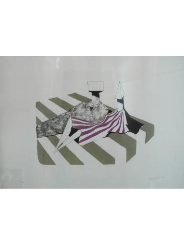 Sitting Figures on Stripes III